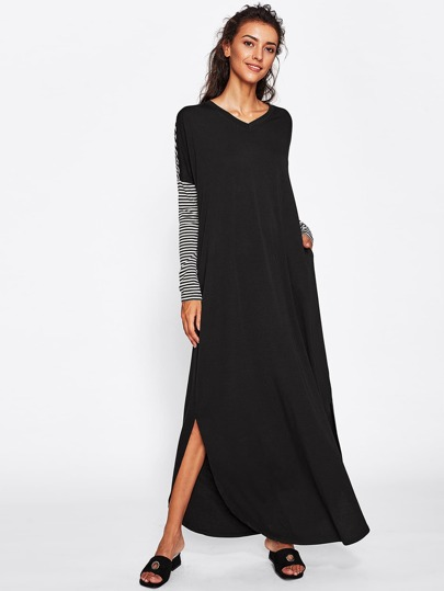 Curved Hem Cut And Sew Hajib Long Dress