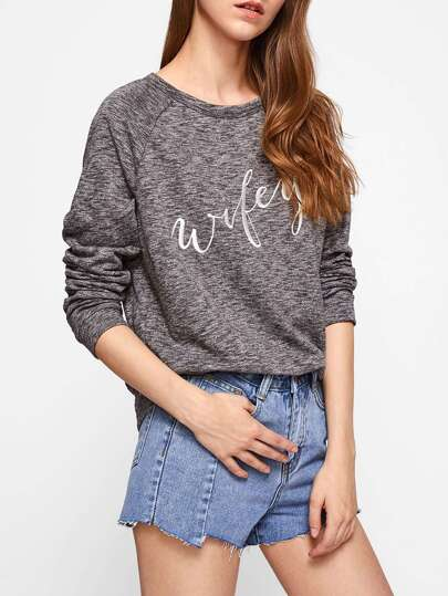 Raglan Sleeve Embroidered Space Dye Sweatshirt