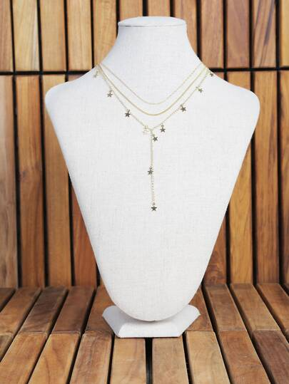 Three Chain Star Necklace Set GOLD