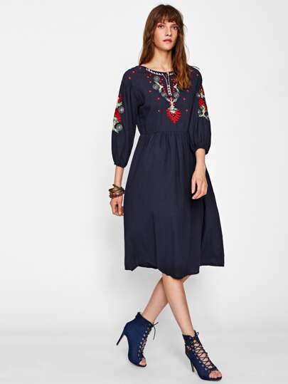 Embroidered Front And Sleeve Lantern Sleeve Dress