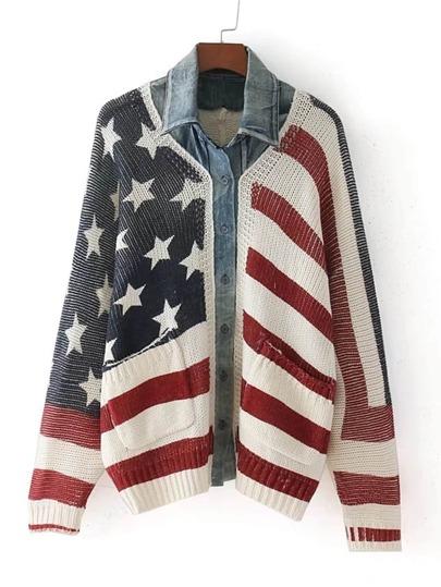 Sweater manteau 2 en 1 à motif de rayure et étoile