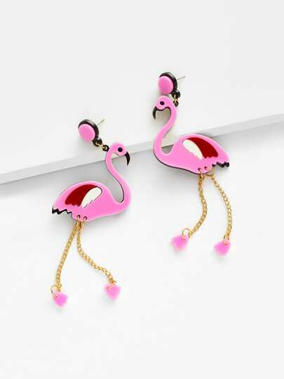 Delicate Flamingo Drop Earrings