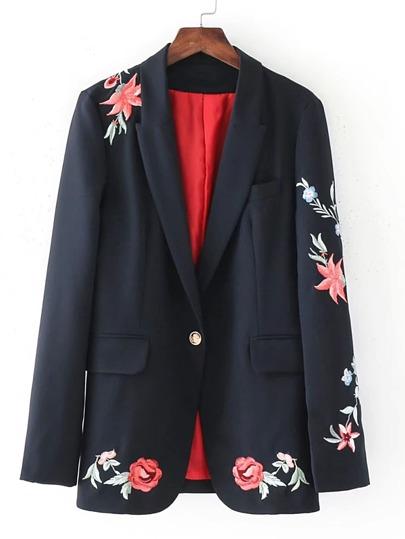 Blazer mit Blumenstickerei und Einzelknopf