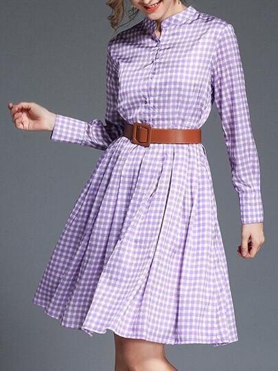Color Block Plaid Belted A-Line Dress