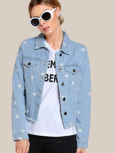 Star Embroidered Denim Jacket DENIM