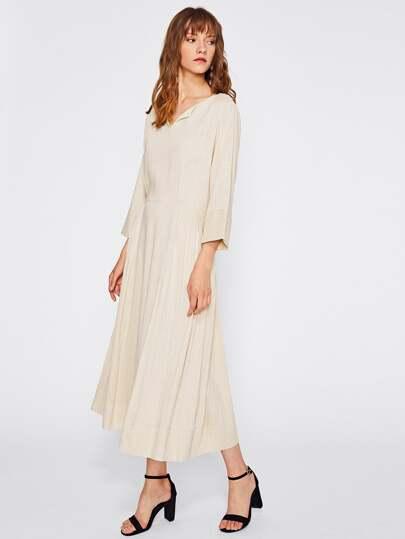 V Neckline Crinkle Dress