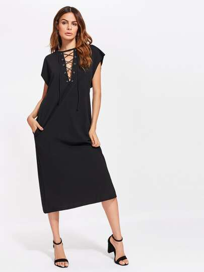 Criss Cross Front Cap Sleeve Dress