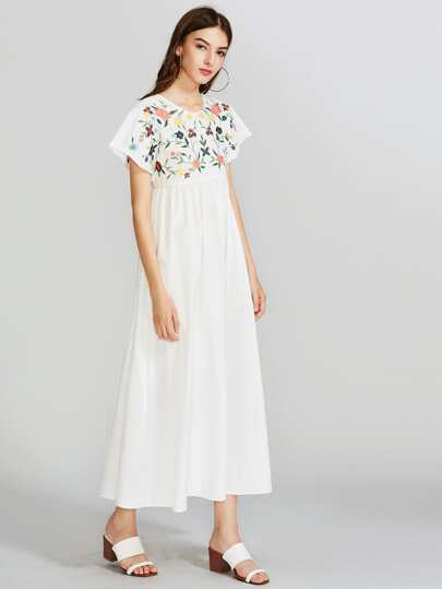 Botanical Embroidered Yoke Tie Up Back Dress
