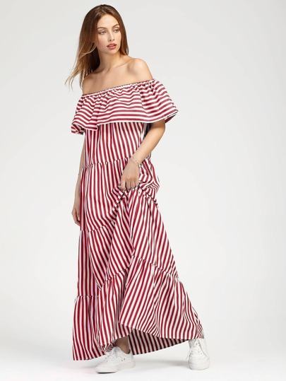 Contrast Striped Flounce Layered Tiered Peasant Dress