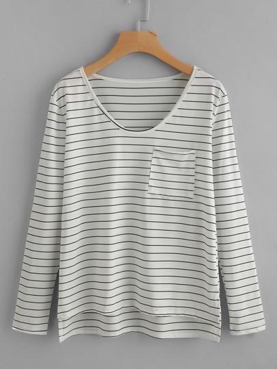 Camiseta asimétrica de rayas con abertura al lado