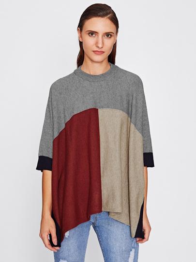 Sweater poncho fendu découpé