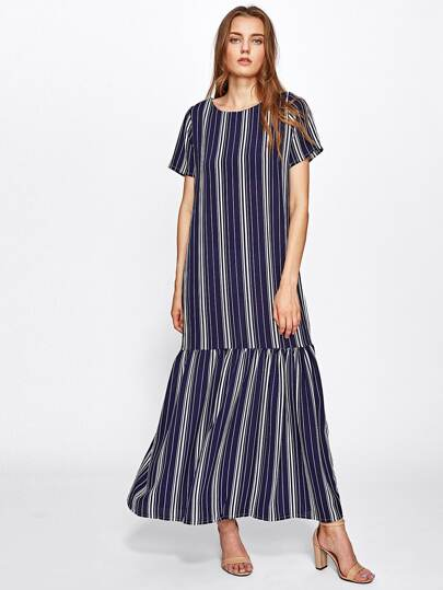 Vertical Striped Frill Hem Full Length Dress