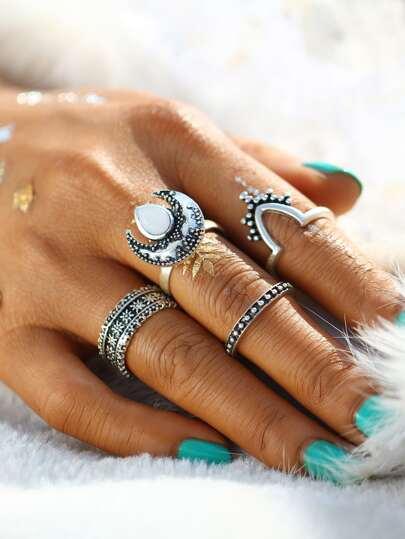 4 piezas de anillo en multi-forma con detalle de piedra preciosa