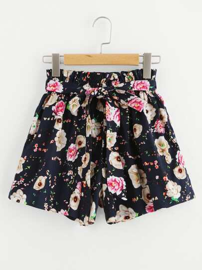 Floral Print Random Shorts With Belt