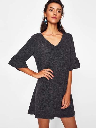 Trumpet Sleeve Marled Knit Dress