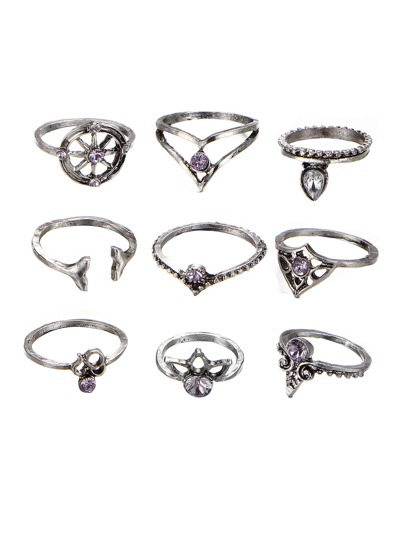 Rhinestone Multi Shaped Ring Set 9pcs