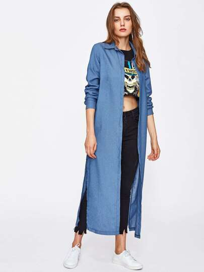 Slit Side Longline Chambray Coat