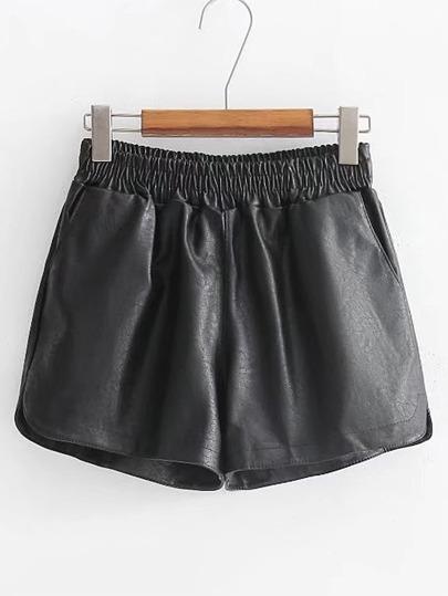 Short de PU con cintura elástica