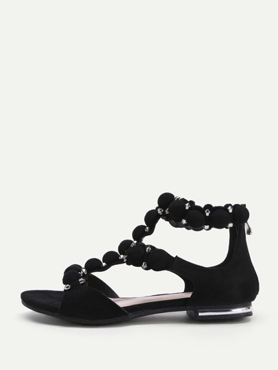 Caged Detail Zipper Back Flat Sandals
