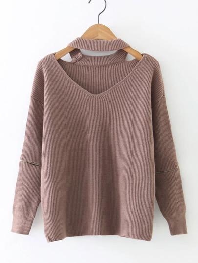 Sweater col en V côtelé avec les zips