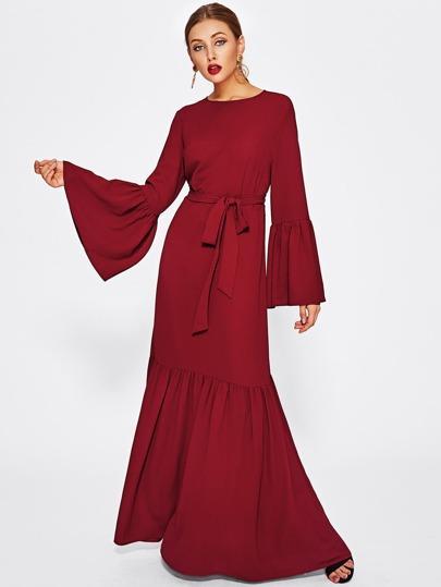 Buttoned Keyhole Ruffle Hem Hijab Long Dress