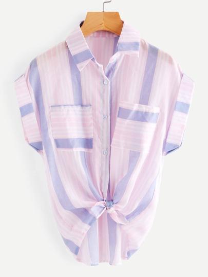 Barcode Stripe Knotted Hem Cuffed Shirt