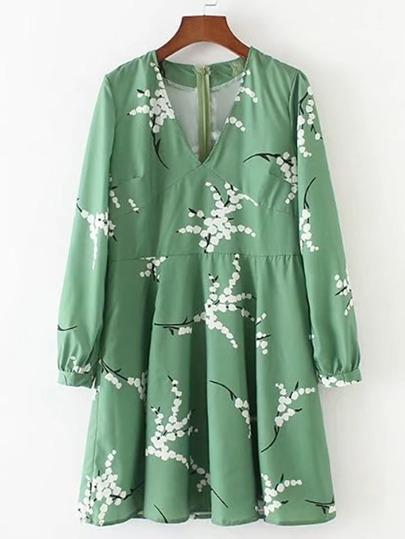 Robe taille haute imprimée fleuri avec des plis