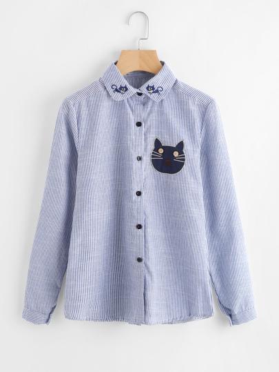 Vertical Striped Cartoon Cat Embroidery Shirt