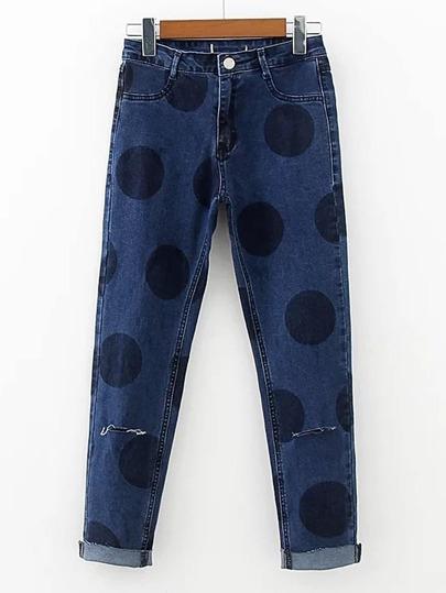 Polka Dot Print Slit Front Jeans