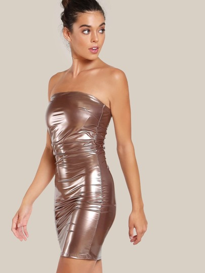 Latex Bodycon Dress COPPER