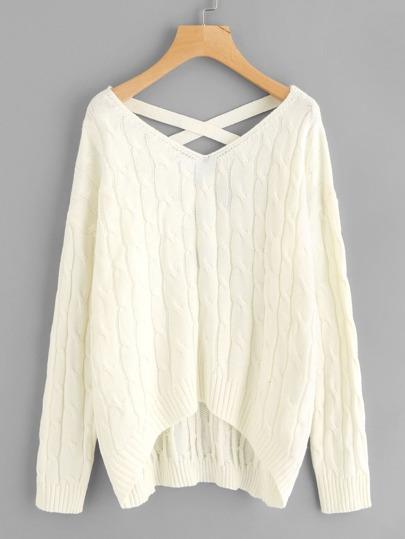 Pull tricoté croisé V dos