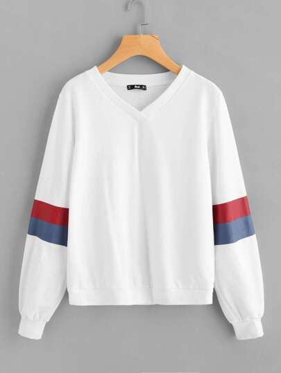Contrast Striped Sleeve V Neck Sweatshirt