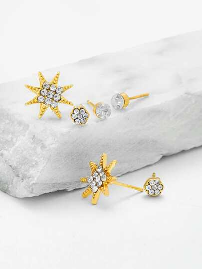Rhinestone Star Anise Design Stud Earring Set
