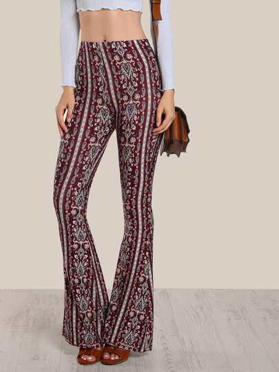 Floral Print Skinny Bell Bottom Pants WINE