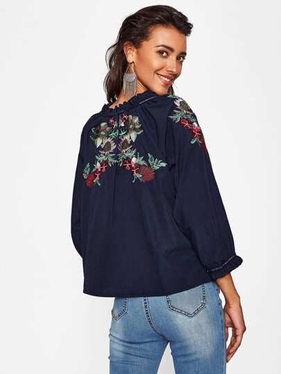 Botanical Embroidered Tie Neckline Blouse