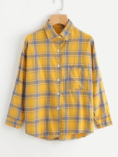 Drop Shoulder Tartan Plaid Shirt