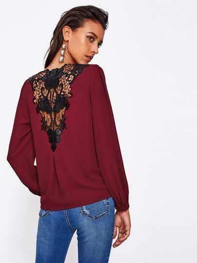 Contrast Floral Lace V Back Surplice Blouse