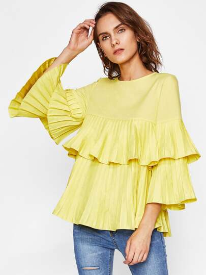 Tiered Pleated Bell Sleeve And Flounce Blouse