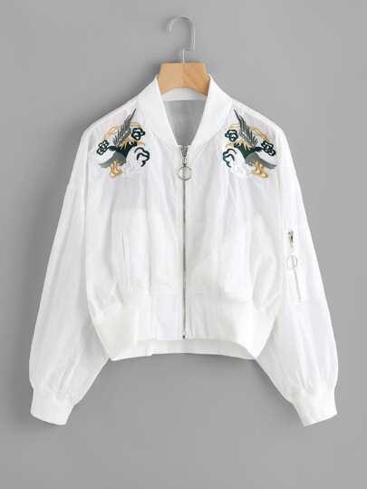 Jacke mit symmetrischen Stickereien