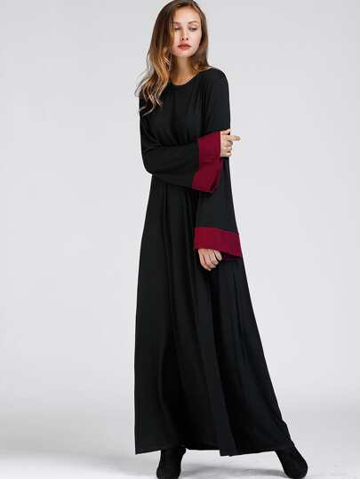 Contrast Cuff Long Hijab Dress