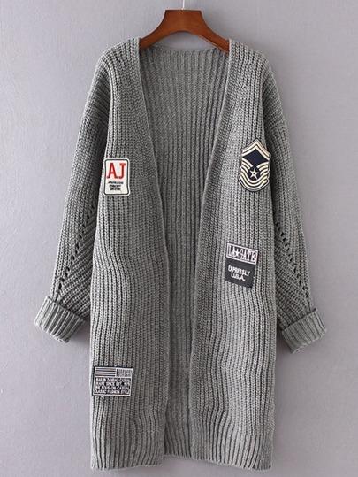 Patch Detail Drop Shoulder Longline Sweater Coat