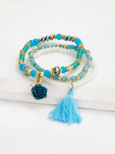 Ensemble de bracelet design de rose et frange avec des perles 3 pièces