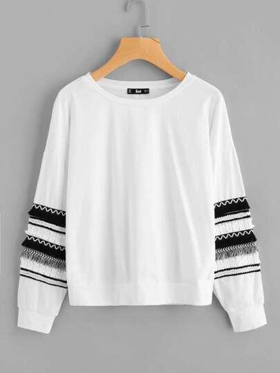 Fringe And Braided Tape Detail Drop Shoulder Sweatshirt