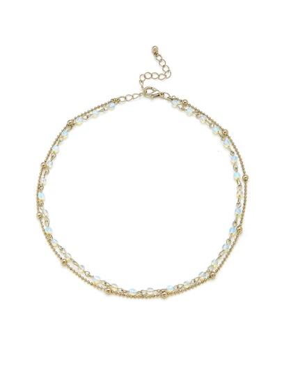 Opal & Beads Detail Layered Chain Choker