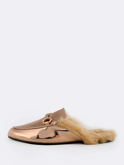 Metallic Fur Lined Loafers ROSE GOLD