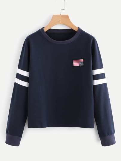 Striped Sleeve Patch Sweatshirt