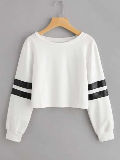 Varsity Striped Crop Sweatshirt