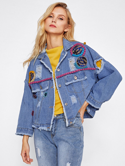 Ripped Denim Jacket With Pom Pom And Appliques