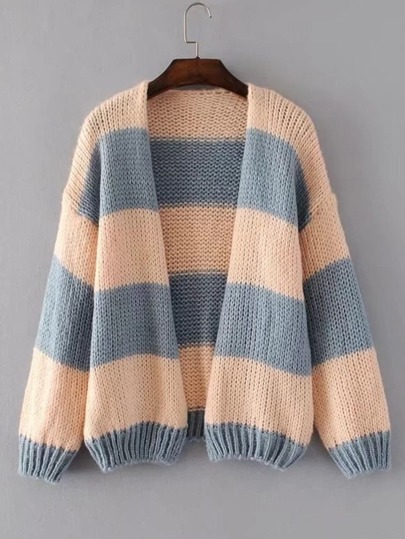 Block Striped Open Front Cardigan
