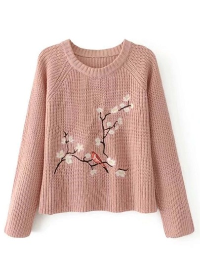 Flower Embroidery Raglan Sleeve Jumper